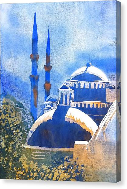 Blue Mosque In Blues Canvas Print