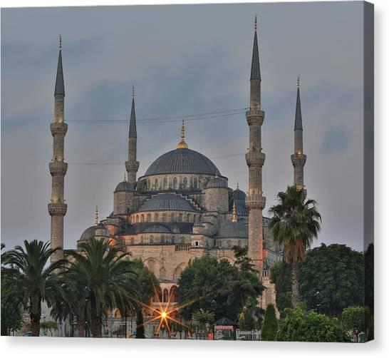 Byzantine Canvas Print - Blue Mosque Morning Light by Stephen Stookey