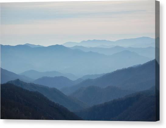 Blue Mountain Cascades Canvas Print by Mary Anne Baker