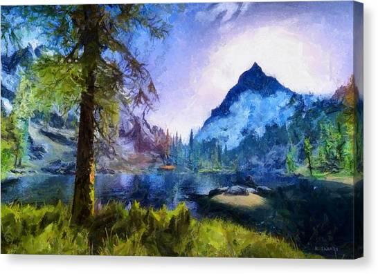 Blue Mountain Of Skyrim Canvas Print