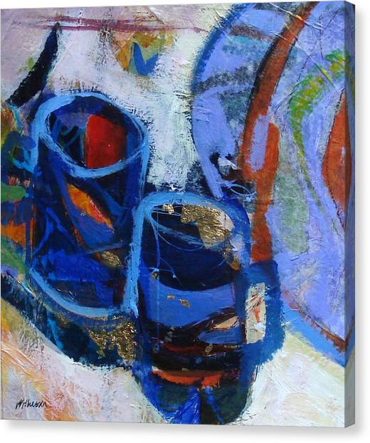 Blue Mugs Canvas Print by Dale  Witherow