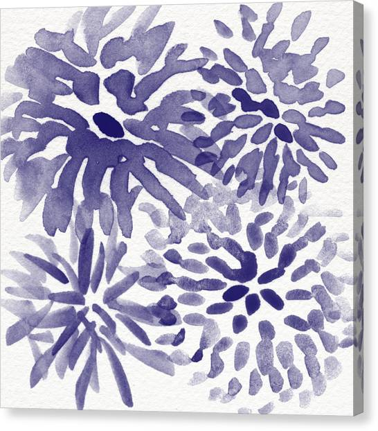Navy Blue Canvas Print - Blue Mums- Watercolor Floral Art by Linda Woods