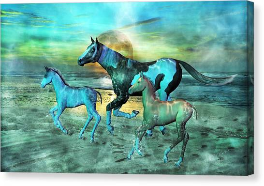 Draft Horses Canvas Print - Blue Ocean Horses by Betsy Knapp