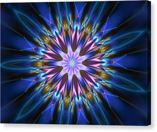 Blue Oomph Fractal Mandala Canvas Print