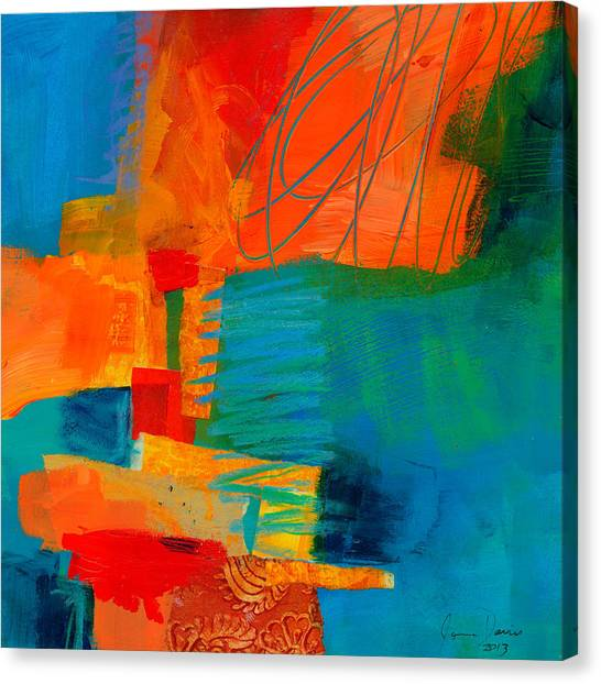 Collage Canvas Print - Blue Orange 2 by Jane Davies