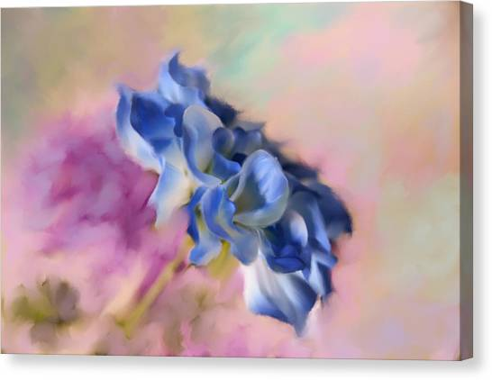 Blue Painted Flower Canvas Print