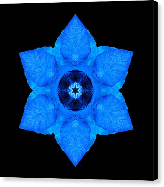 Blue Pansy II Flower Mandala Canvas Print