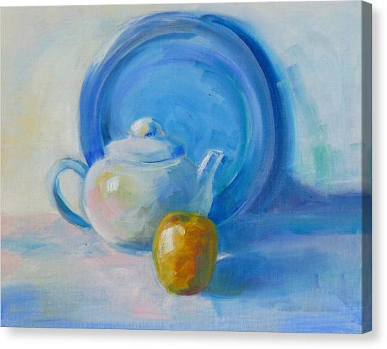 Blue Plate Special Canvas Print by Valerie Lynch
