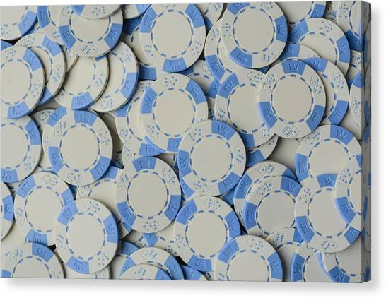 Blue Poker Chip Background Canvas Print