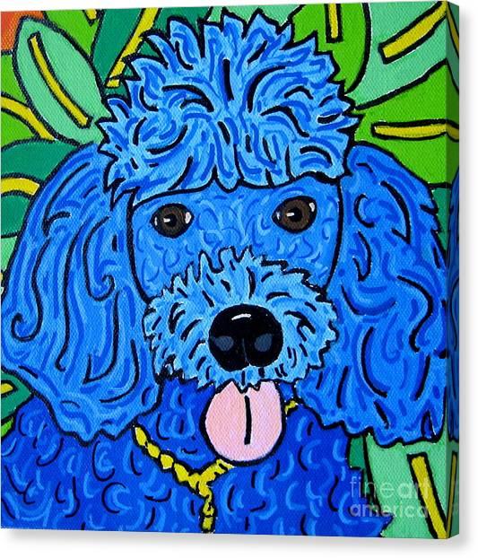 Blue Poodle Canvas Print by Susan Sorrell