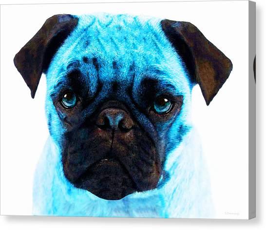 Pugs Canvas Print - Blue - Pug Pop Art By Sharon Cummings by Sharon Cummings