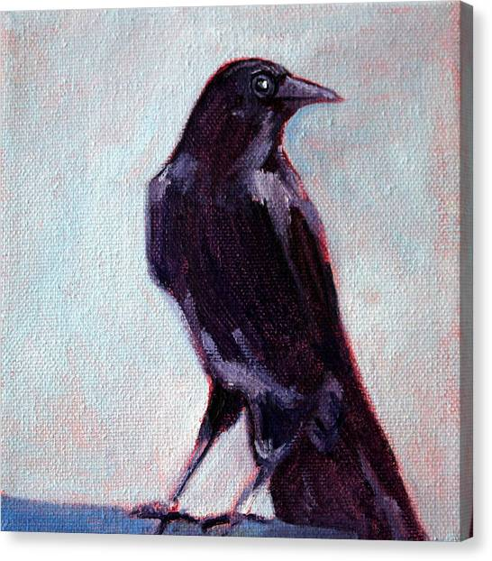 Ravens Canvas Print - Blue Raven by Nancy Merkle