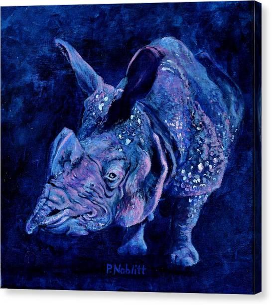 Rhinocerus Canvas Print - Indian Rhino - Blue by Paula Noblitt