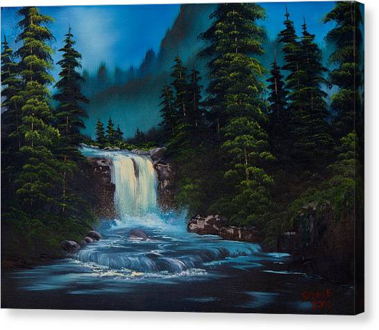 Bob Ross Canvas Print - Mountain Falls by Chris Steele
