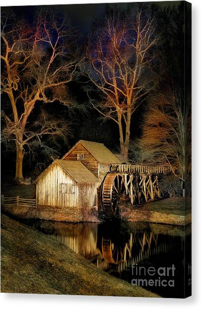 Blue Ridge - Mabry Mill Painted At Night I Canvas Print by Dan Carmichael