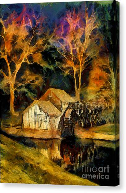 Blue Ridge - Mabry Mill Painted At Night II Canvas Print by Dan Carmichael