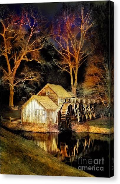 Blue Ridge - Mabry Mill Painted At Night IIi Canvas Print by Dan Carmichael