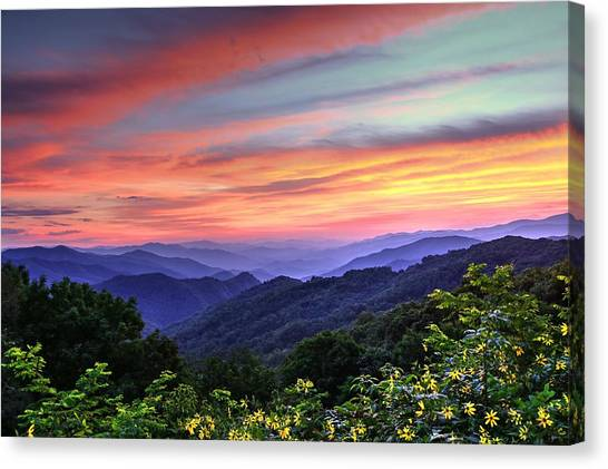 Blue Ridge Parkway Canvas Print - Blue Ridge Mountain Color by Carol R Montoya