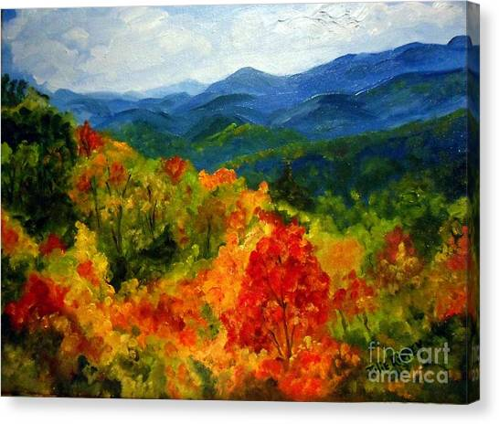Blue Ridge Mountains In Fall Canvas Print
