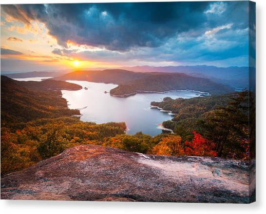Blue Ridge Mountains Sunset - Lake Jocassee Gold Canvas Print