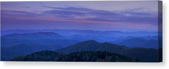Blue Ridge Parkway Canvas Print - Blue Ridge Panorama At Dusk by Andrew Soundarajan