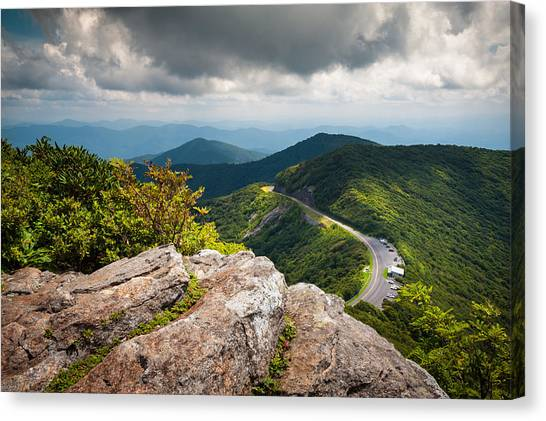 Blue Ridge Parkway Canvas Print - Blue Ridge Parkway - Asheville Nc Craggy Gardens Overlook by Dave Allen