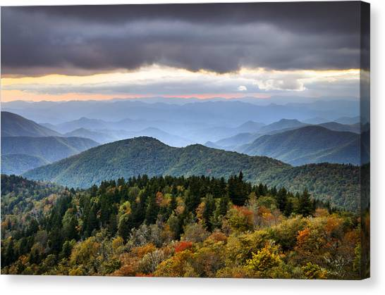 Blue Ridge Parkway Canvas Print - Blue Ridge Parkway Autumn Mountains Sunset Nc - Boundless by Dave Allen
