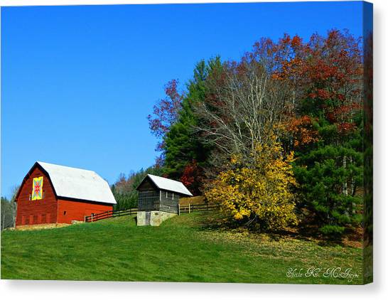 Blue Ridge Parkway Barn With Fall Trees Canvas Print