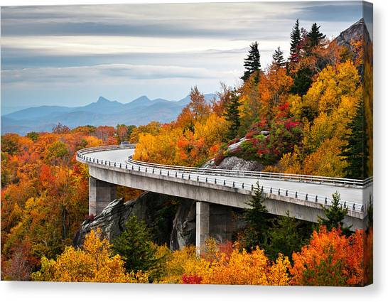 Blue Ridge Parkway Canvas Print - Blue Ridge Parkway Fall Foliage Linn Cove Viaduct by Dave Allen