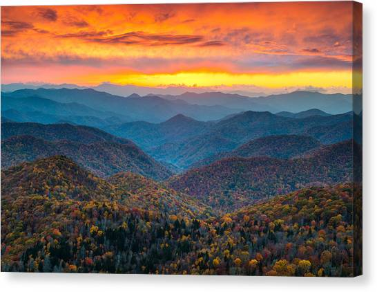 Mountain Sunset Canvas Print - Blue Ridge Parkway Fall Sunset Landscape - Autumn Glory by Dave Allen