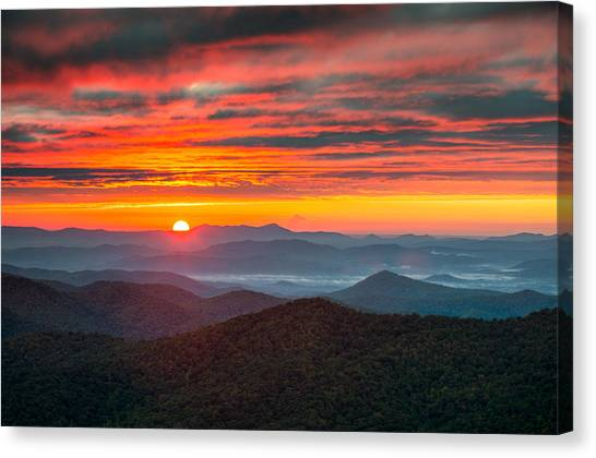 Blue Ridge Parkway Canvas Print - North Carolina Blue Ridge Parkway Nc Autumn Sunrise by Dave Allen