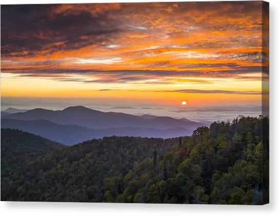 Blue Ridge Parkway Canvas Print - Blue Ridge Parkway North Carolina Autumn Mountains Sunrise Fall Foliage by Dave Allen
