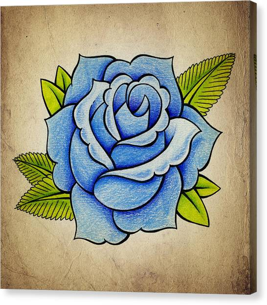 Old Canvas Print - Blue Rose by Samuel Whitton