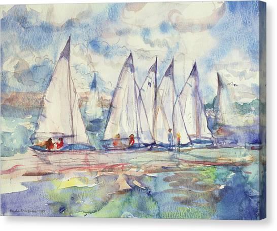 Sailing Race Canvas Print - Blue Sailboats by Brenda Brin Booker