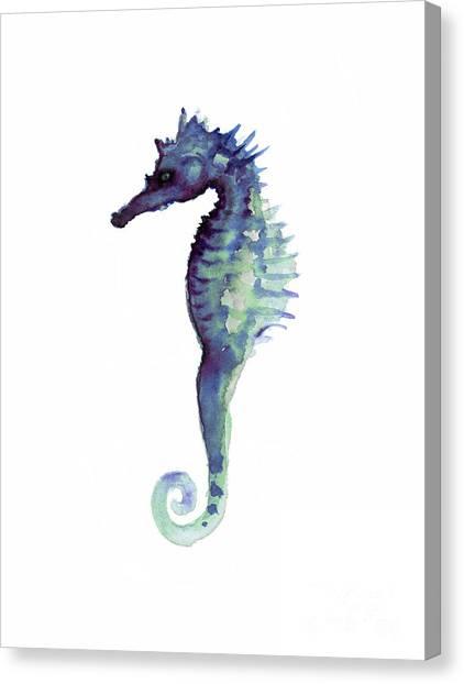 Seahorse Canvas Print - Blue Seahorse by Joanna Szmerdt