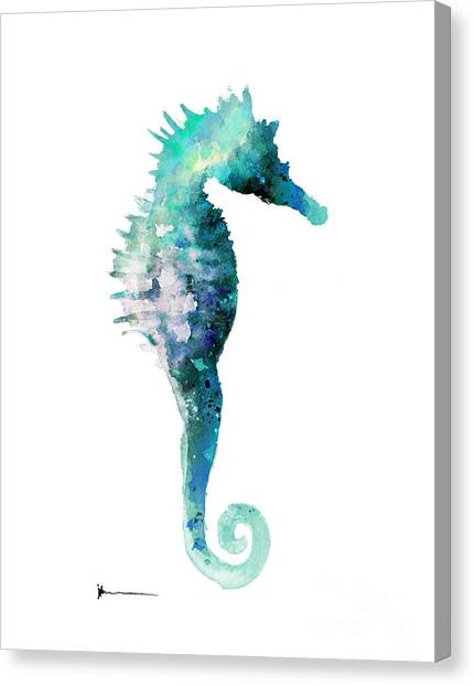 Seahorses Canvas Print - Blue Seahorse Watercolor Art Print Painting by Joanna Szmerdt