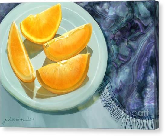 Blue Silk And Oranges Canvas Print by Joan A Hamilton