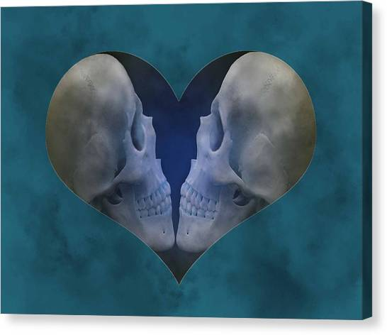Blue Skull Love Canvas Print by Diana Shively
