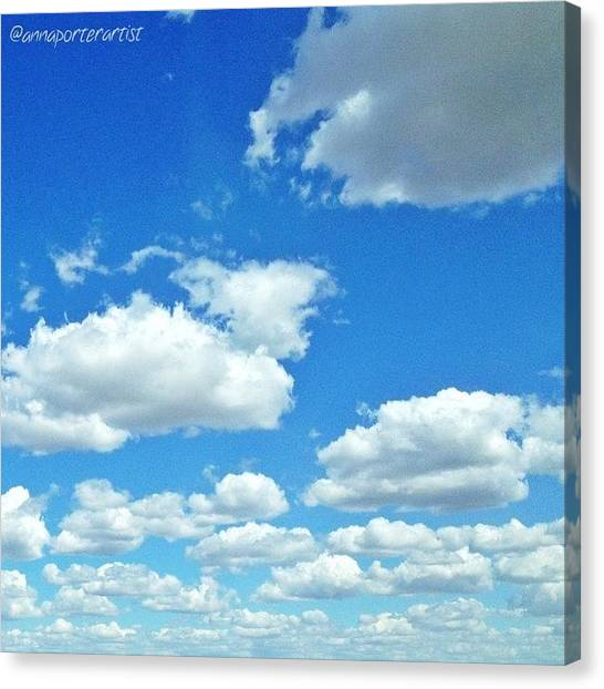 Washington Canvas Print - Blue Sky And White Clouds by Anna Porter