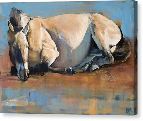 Wild Horse Canvas Print - Blue Sky Day by Mark Adlington