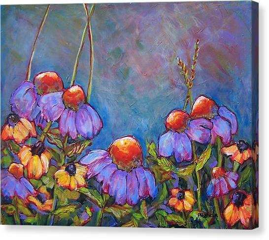 Blue Sky Flowers Canvas Print by Blenda Studio