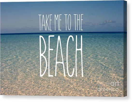 Fun Beach Canvas Print - Blue Sky Golden Beach Sand Calm Ocean Waters by Beverly Claire Kaiya