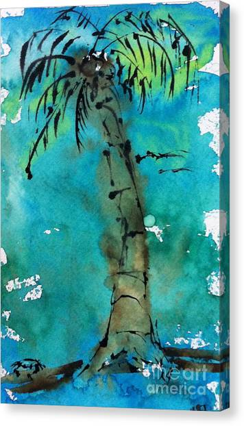 Blue Sky Palm Canvas Print