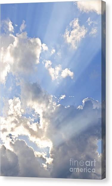 Blue Sky With Sun Rays Canvas Print