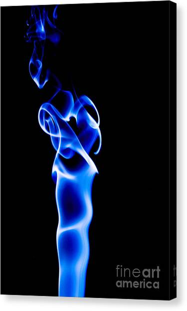 Canvas Print featuring the photograph Blue Smoke by Yew Kwang