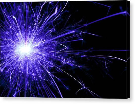 Fireworks Canvas Print - Blue Sparkle by Samuel Whitton