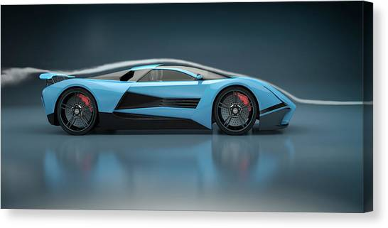 Blue Sports Car In A Wind Tunnel Canvas Print by Mevans