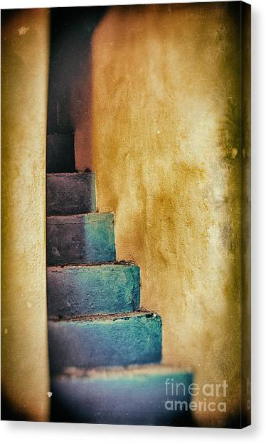 Blue Stairs - Yellow Wall    Canvas Print