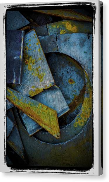 Blue Steel With Scratches Canvas Print