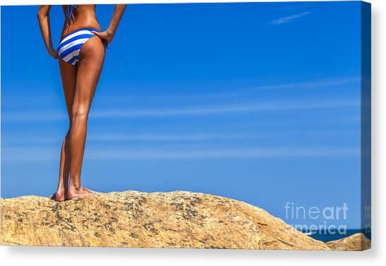 Bikini Canvas Print - Blue Striped Bikini by Diane Diederich